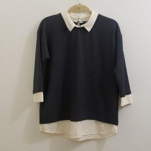 Ann Taylor Factory Black and Ivory Layered Top R6